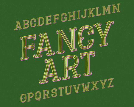 Fancy Art typeface. Retro font. Isolated english alphabet.