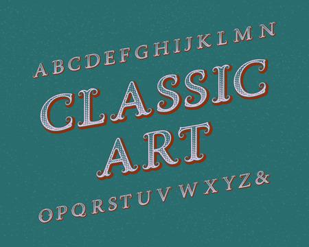 Classic Art typeface. Vintage font. Isolated english alphabet. Ilustrace