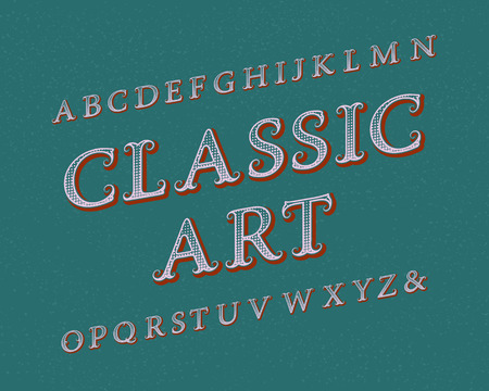 Classic Art typeface. Vintage font. Isolated english alphabet. Illustration