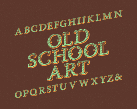Old School Art typeface. Vintage font. Isolated english alphabet.