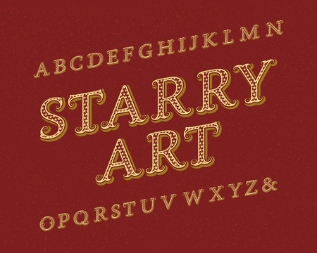 Srarry Art typeface. Vintage font. Isolated english alphabet.