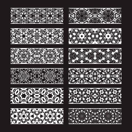 Wzorzyste elementy do tworzenia pędzli wektorowych. Zestaw szablonów obramowań do projektowania ramek i dekoracji stron.