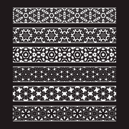 Patterned elements for vector brushes creating. Borders templates kit for frames design and page decorations.