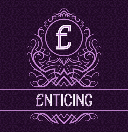 Vintage label design template for enticing product. Vector monogram with text on patterned background.