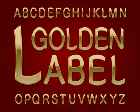 Golden Label typeface. Retro font. Isolated english alphabet.