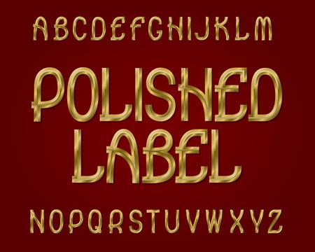 Polished Label typeface. Golden font. Isolated english alphabet.