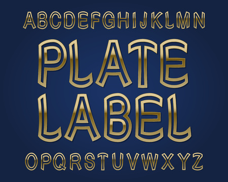 Plate Label typeface. Golden font. Isolated english alphabet. Illustration