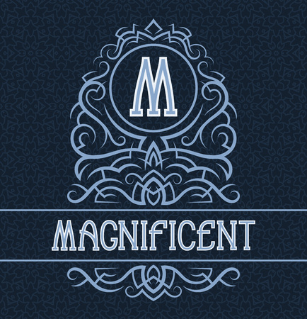 Vintage label design template for magnificent product. Vector monogram with text on patterned background.