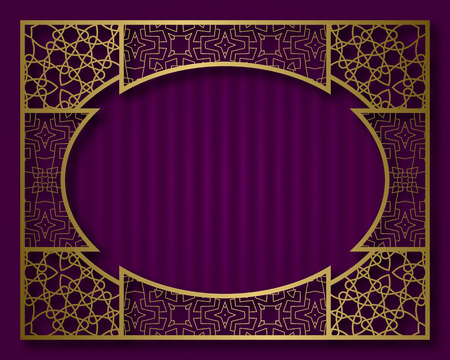 Vintage golden frame in oriental style. Label, nameplate or greeting card background template.