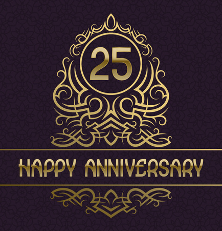 Happy anniversary greeting card template for twenty five years celebration. Vintage design with golden elements.