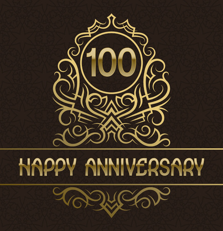 Happy anniversary greeting card template for hundred years celebration. Vintage design with golden elements.