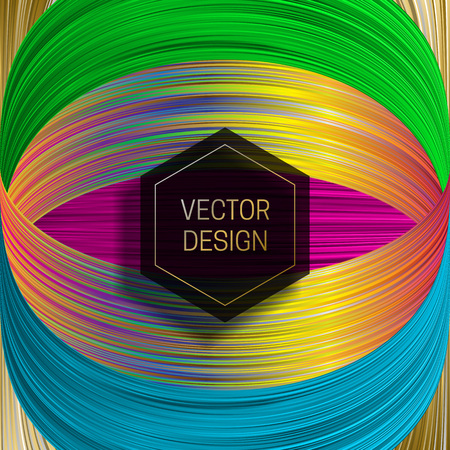 Hexagonal frame on saturated colorful background. Trendy holographic packaging design or cover template. Ilustração
