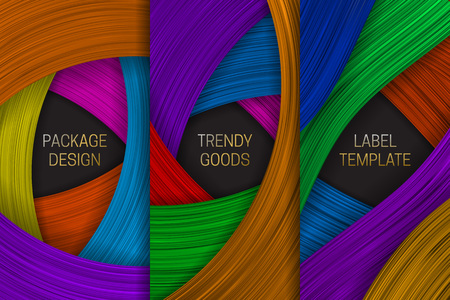 Beautiful volumetric packaging design. Set of colorful labels templates for trendy goods.