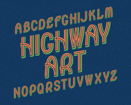 Highway Art typeface. Retro font. Isolated english alphabet. Illustration