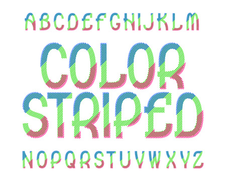 Color Striped typeface. Colorful font. Isolated english alphabet. Illustration