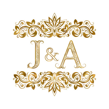 J and A vintage initials logo symbol. The letters are surrounded by ornamental elements. Wedding or business partners monogram in royal style.