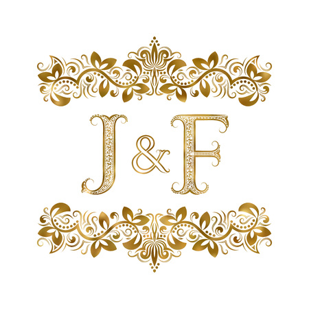 J and F vintage initials logo symbol. The letters are surrounded by ornamental elements. Wedding or business partners monogram in royal style. Ilustrace