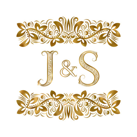 J and S vintage initials logo symbol. The letters are surrounded by ornamental elements. Wedding or business partners monogram in royal style.