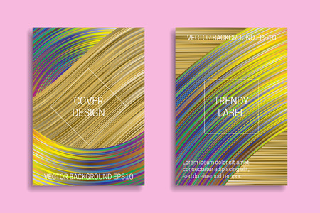 Holographic backgrounds for cover design. Trendy labels for packaging.