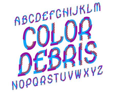 Color Debris typeface. Colorful font. Isolated english alphabet. Ilustração Vetorial