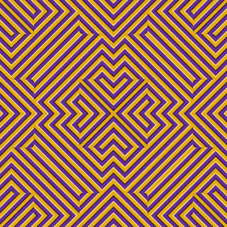 Optical motion illusion seamless pattern. Yellow purple striped moving ornament. Stock Illustratie