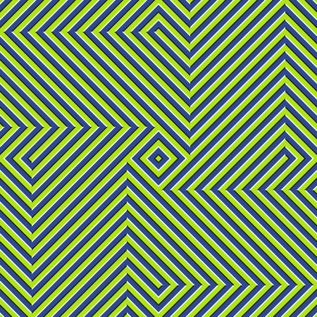 Optical motion illusion seamless pattern. Blue green striped moving ornament.