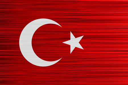 Vector concept of Turkish Flag. Red background and white symbols with specific effect of uneven stripes.
