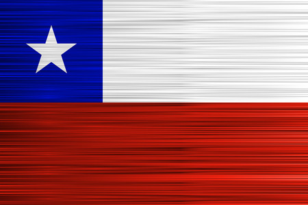 Vector concept of Chilean Flag. Red white blue and star background with specific effect of uneven stripes.