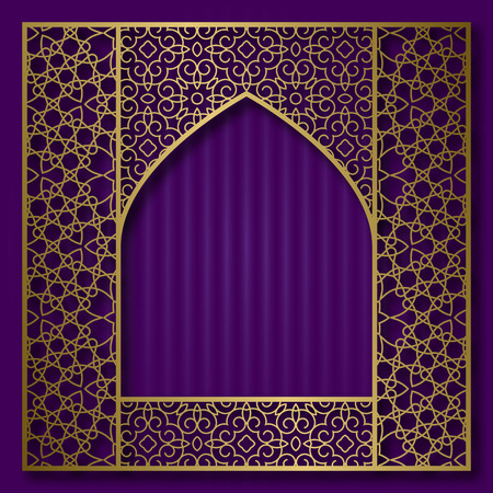 Golden patterned frame in oriental arched window form. Vintage greeting card background. Vettoriali