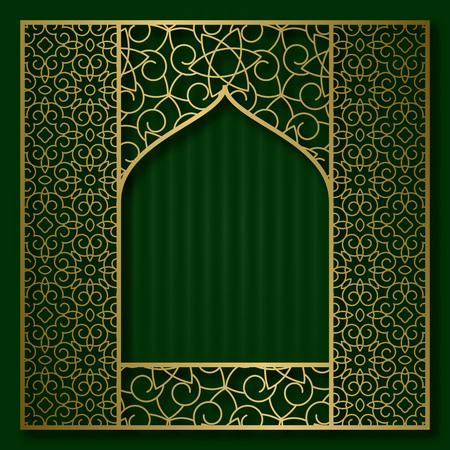 Golden patterned frame in oriental arched window form. Vintage greeting card background.