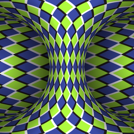 Moving checkered hyperboloid. Vector optical illusion illustration. Stock Illustratie