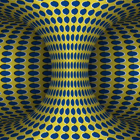 Moving polka dots hyperboloid. Vector optical illusion illustration.
