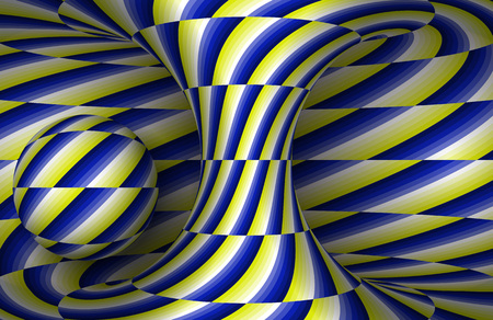 Moving spiral hyperboloid and sphere. Vector optical illusion illustration. Stock Illustratie