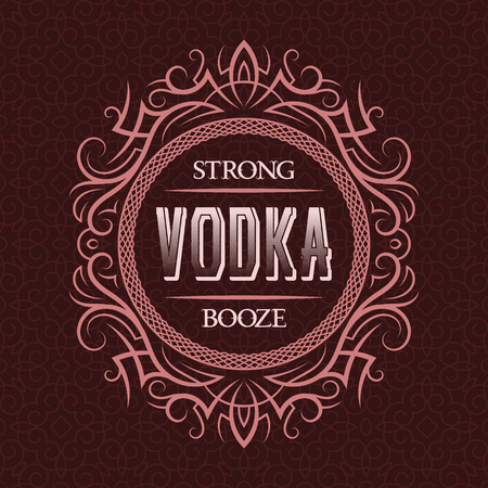 Vodka strong booze label design template. Patterned vintage frame with text on pattern background.