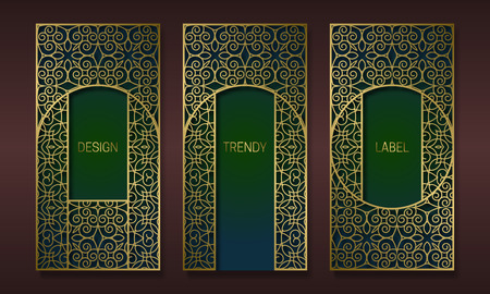 Vintage golden packaging design in oriental style. Set of ornate labels templates for trendy goods. Arabesque backgrounds with beautiful patterned frames.
