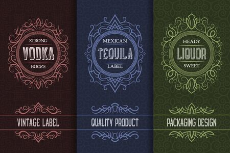 Vintage packaging design set with alcohol drink labels of vodka, tequila, liquor.