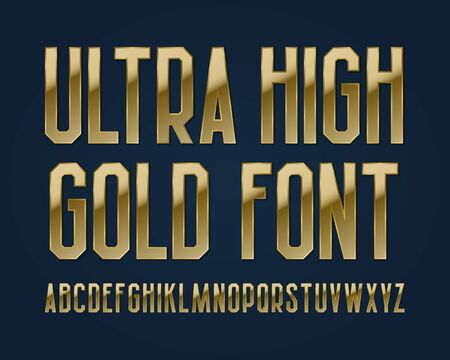 Ultra high gold font. Isolated english alphabet.