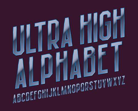 Ultra high alphabet. Vibrant ultraviolet font. Isolated english alphabet.