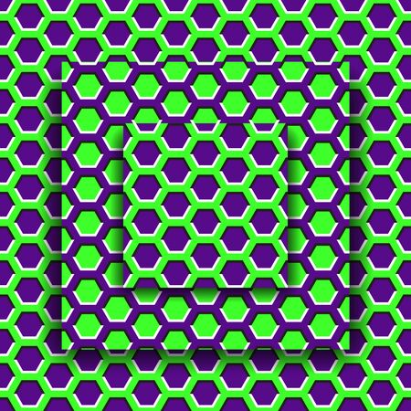 Moving platforms with a hexagonal pattern. Optical illusion background.