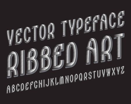 Ribbed Art Vector typeface. White gray contrasting font. Isolated english alphabet. Иллюстрация