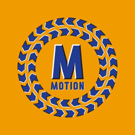 Optical illusion motion logo in round moving frame. Illustration