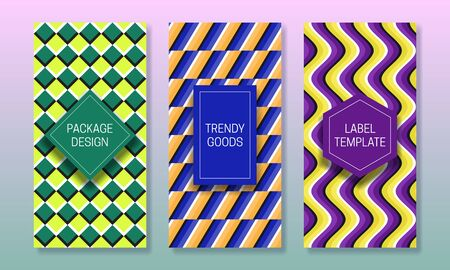 Optical illusion packaging design. Set of colorful labels templates for trendy goods. Original beautiful backgrounds with colored frames.
