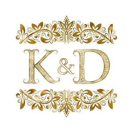 K and D vintage initials symbol. The letters are surrounded by ornamental elements. Wedding or business partners monogram in royal style. Illustration