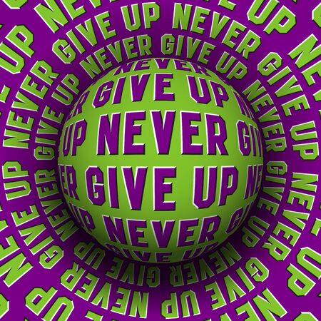 Never Give Up patterned sphere rolling on rotating surface. Abstract vector optical illusion concept. Stockfoto - 126796916