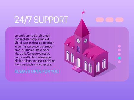 24/7 support concept. Web page header design with isometric element.