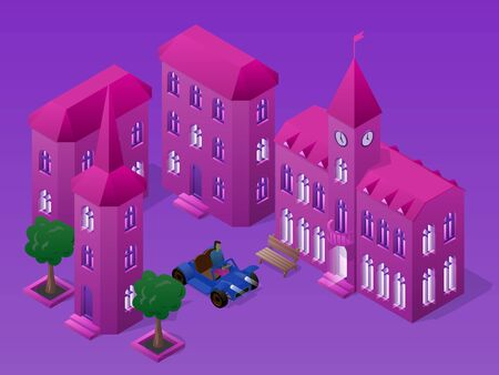 Isometric night cityscape with buildings, car, bench and trees. Illustration