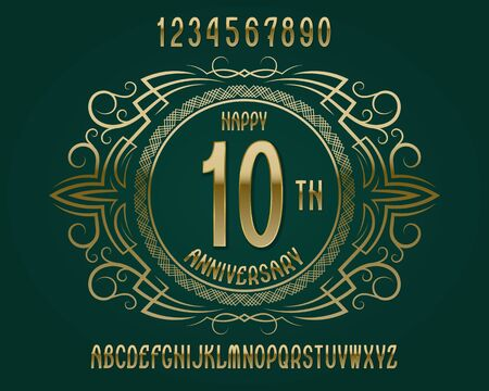 Happy anniversary emblem kit. Golden numbers, alphabet, and patterned frame for creating a memorable sign.