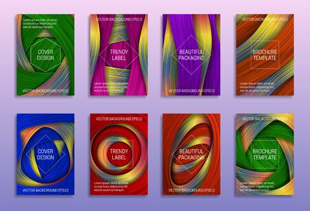 Creative abstract backgrounds for cover design. Trendy labels for beautiful packaging. Colored holographic brochure templates.