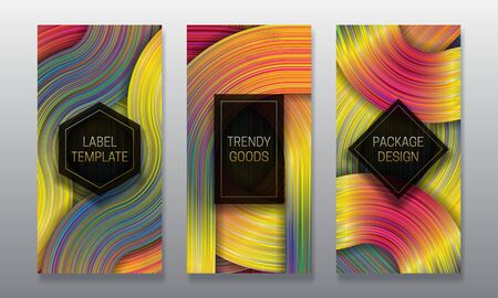Luxury packaging design. Set of colorful labels templates for trendy goods. Holographic backgrounds with volumetric black frames.