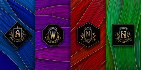 Luxury packaging design with golden monograms logos. Set of colorful labels templates for trendy goods.